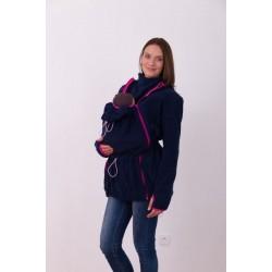 Nosící fleece mikina s kapucí - pouze přední nošení - tm. modrá