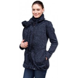 Nosící fleecová mikina - pro nošení dítěte v předu i vzadu na těle - černý melír
