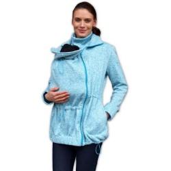 Nosící fleecová mikina - pro nošení dítěte ve předu - tyrkysový melír
