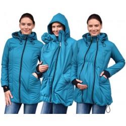 Zimní bunda pro těhotné/nosící - vyteplená, petrolejová