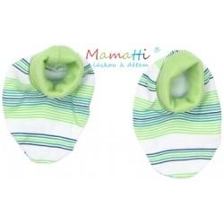 Botičky/ponožtičky BAVLNA Mamatti - FROG  - zelené proužky