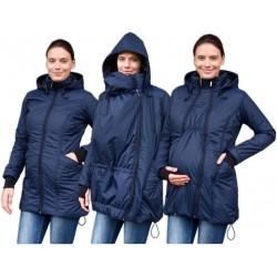 Zimní bunda pro těhotné/nosící - vyteplená, tm. modrá