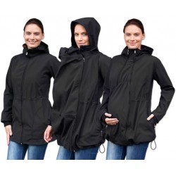 Bunda pro nosící, těhotné - softshellová (přední nošení), černá