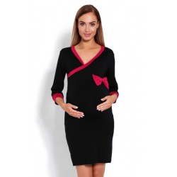 Pohodlná těhotenská, kojící noční košile s mašlí - černá