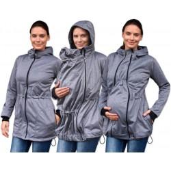 Bunda pro nosící, těhotné - softshellová (přední nošení), šedý melír