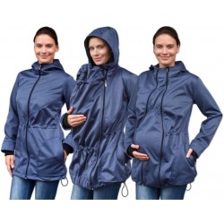 Bunda pro nosící, těhotné - softshellová (přední nošení), tm. modrý melír