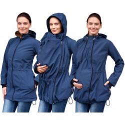 Bunda pro nosící, těhotné - softshellová (přední nošení), tm. modrá