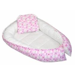 Oboustranné hnízdečko, kokon  60x90cm - Kočičky puntíky - růžová/bílá