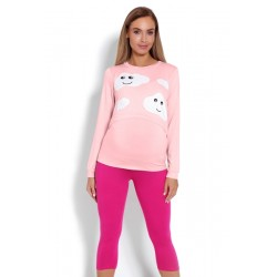 Těhotenské, kojící pyžamo 3/4 mráčky - růžové