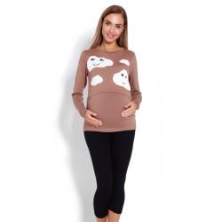 Těhotenské, kojící pyžamo 3/4 mráčky - cappuccino
