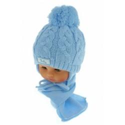 Zimní pletená čepička s šálou Baby Bear - modrá s bambulkou