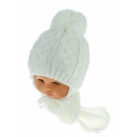 b108e64cc36 Zimní pletená čepička s šálou Baby Bear - bílá s bambulkou ...