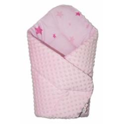 Oboustranná rychlozavinovačka 75x75cm s minky Baby Stars růžové - sv. růžová