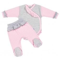 2-dílná kojenecká souprava New Baby Puntík II šedo-růžová, Růžová, 62 (3-6m)