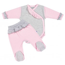 2-dílná kojenecká souprava New Baby Puntík II šedo-růžová, Růžová, 68 (4-6m)
