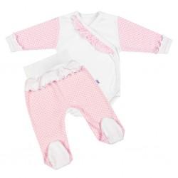 2-dílná kojenecká souprava New Baby Puntík II bílo-růžová, Růžová, 68 (4-6m)