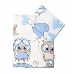 2-dílné bavlněné povlečení Cute Owls - modré