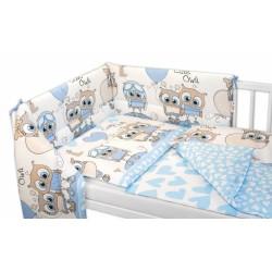 3-dílná sada mantinel s povlečením Cute Owls - modrá