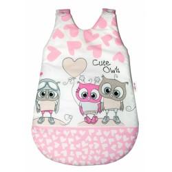 Spací vak Cute Owls - růžový