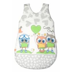 Spací vak Cute Owls - šedý