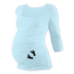 Těhotenské triko 3/4 rukáv s nožičkami - sv. modré