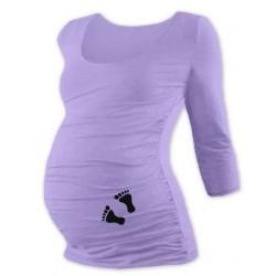 Těhotenské triko 3/4 rukáv s nožičkami - levandulové