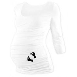 Těhotenské triko 3/4 rukáv s nožičkami - bílé