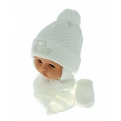 Sada - čepička, šál a rukavičky Medvídek - bílý (bílá výšivka)