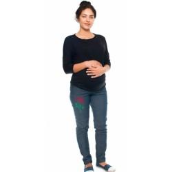 Těhotenské kalhoty/jeans s potiskem růže, granátové
