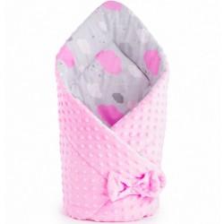 Oboustranná Zavinovačka z Minky New Baby 75x75 cm obláček růžová, Růžová