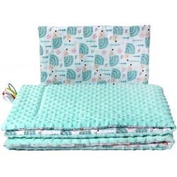 Oboustranný Set z Minky do kočárku New Baby ježek mátový, Zelená