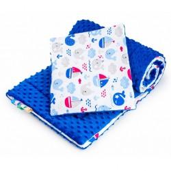 Oboustranný Set z Minky do kočárku New Baby moře modrý, Modrá