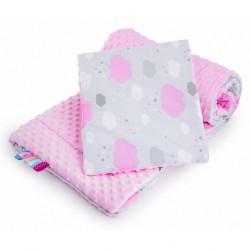 Oboustranný Set z Minky do kočárku New Baby obláček růžový, Růžová