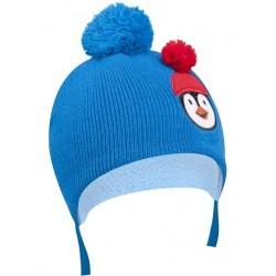 Zimní čepička YO ! na zavazování Pingwin - modrá