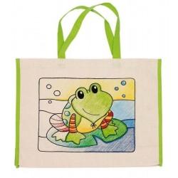 Dětská Eko bavlněná taška k vybarvení,  39x31,5cm - Žabka