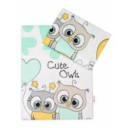 2-dílné bavlněné povlečení Cute Owls - zelené