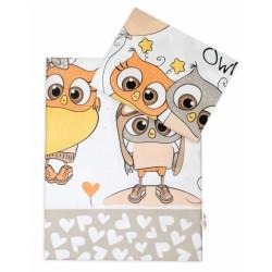2-dílné bavlněné povlečení Cute Owls - béžové