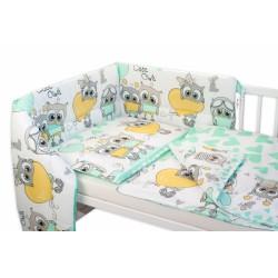 3-dílná sada mantinel s povlečením Cute Owls - zelená