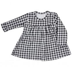 Kojenecké bavlněné šatičky Koala Checkered černo-bílé, Bílá, 62 (3-6m)