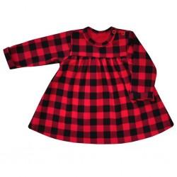 Kojenecké bavlněné šatičky Koala Checkered červeno-černé, Červená, 80 (9-12m)