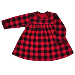 Kojenecké bavlněné šatičky Koala Checkered červeno-černé, Červená, 86 (12-18m)