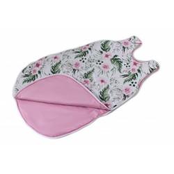 Bavlněný spací vak Květinky - vnitřek růžový, 48x80cm