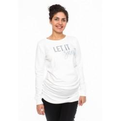 Těhotenské triko, mikina Let it Snow - bílé