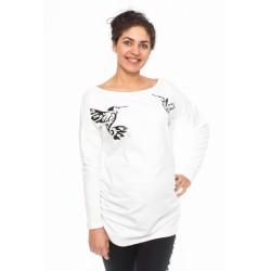 Těhotenské triko, mikina Kolibri - bílé