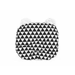 Oboustanný polštářek s oušky, 30x35cm - Trojúhelníčky,minky bílá