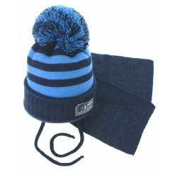 Zimní pletená čepička s šálou No.1 Team - proužky granát/modrá