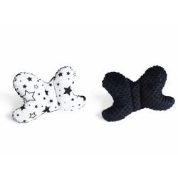 Oboustanný polštářek Motýlek - hvězdy a hvězdičky, minky černá