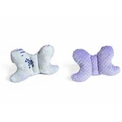 Oboustanný polštářek Motýlek - koník, minky lila