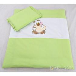 Set do kočárku s výšivkou lux 2D - Medvídek srdce - zelená