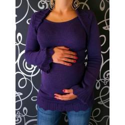 Těhotenský svetřík s bolerkem - fialová